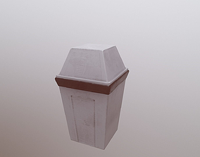 Trash can 3D model game-ready PBR