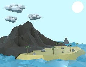 Low Poly Tropical Island 3D model low-poly
