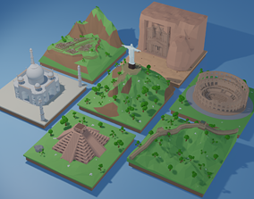rigged 7 Wonders of the World - Bundle Low-poly 3D