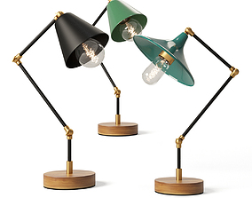3D Three vintage-inspired desk lamps with an industrial