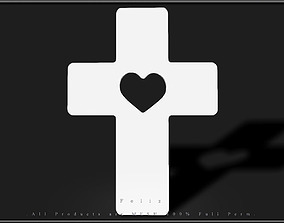 Cross Heart 3D model game-ready