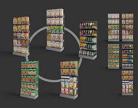 shop store shelves coffee pasta cereal rusks 3D model