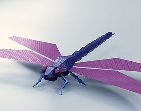 Abstract LowPoly DragonFly 3D asset