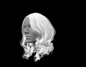 3D asset Long white hair