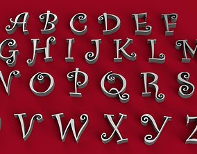 CURLZ font uppercase and lowerca 3D letters STL file
