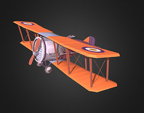 Stylized WWI airplane 3D model low-poly