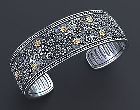 3D printable model Hard bracelet with flowers 349