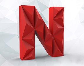lowpoly letter N 3D printable model