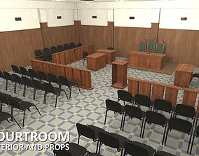 Courtroom - interior and props 3D asset low-poly