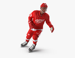 Hockey Player Detroit Red Wings Rigged for Cinema 3D model