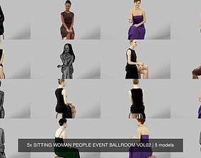 5x SITTING WOMAN PEOPLE EVENT BALLROOM VOL02 3D model