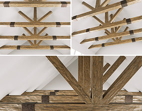 3D model Wooden ceiling beams for barn