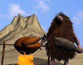 3D model Cartoon Caveman Character Rigged