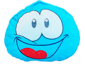3D Baby Blue Pillow with Drawn Eyes and Mouth