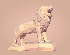 3D model Low Poly Cartoon Lion Statue