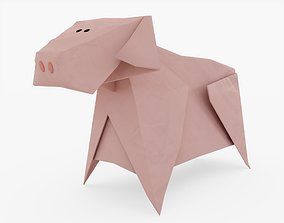 Origami Pig 3D asset low-poly