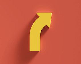 media Arrow Bold Curve Right 3D