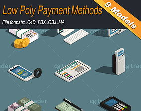 Low Poly Payment Methods Isometric 3D asset