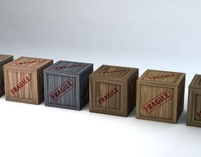 Fragile Wooden Crates Pack 3D model VR / AR ready