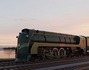 3D Streamlined Steam Locomotive and Tender 4-8-4 6400 1