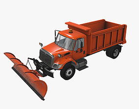 Snow Plow International 7400 3D model animated