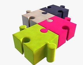 buzzi puzzle kids poufs 3D model
