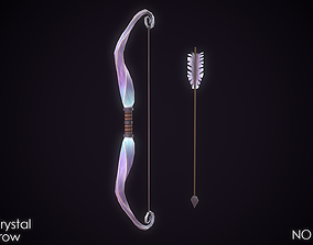 3D asset Fantasy Twisted Crystal Bow and Arrow Low-Poly