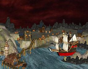 3D model Pirate Shipyard Environment