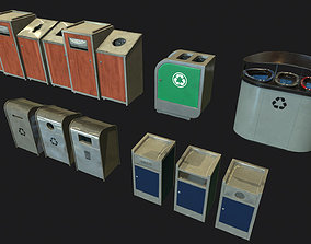 3D asset Industrial Small Trash Recycle Bins