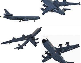 3D Military Aircraft Set of 4 kc-10
