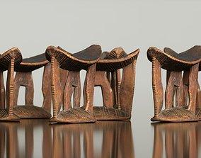 Headrest Africa Wood Furniture Prop 3 3D asset