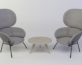 3D model Exquisite armchair and coffee table