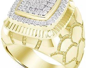 Gents Diamond Nugget Ring 28 3D print model