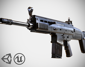 FN SCAR - H - MK 17 - Highly Detailed - PBR - 3D low-poly