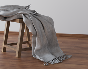 Stool with blanket 3D Model - Seat