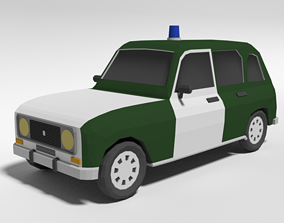 Low Poly Cartoon Retro Police Car 3D model
