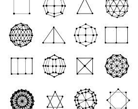 3D asset Elementar shapes with dots set