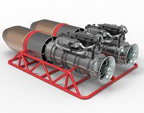 Jet engines with frame 3D model