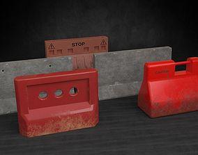 Road barricades gameready 3D asset