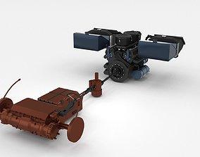 3D Panzer Tiger Engine and Transmission