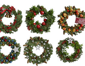 3D Christmas wreaths four types