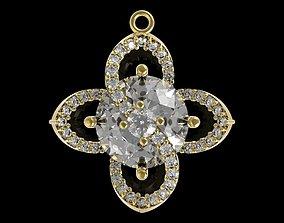 3D print model 412 Flower Diamond Pendant