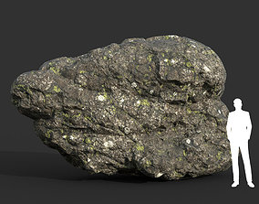 3D model Low poly Damaged Lichen Rock 08 190907
