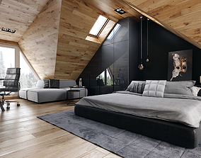 space Modern bedroom 3D