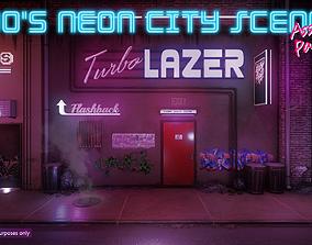 Low-Poly 80s Neon City Scene Pack 3D model