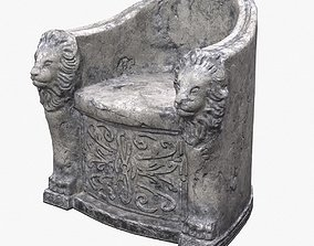 Roman Stone Chair PBR 3D model