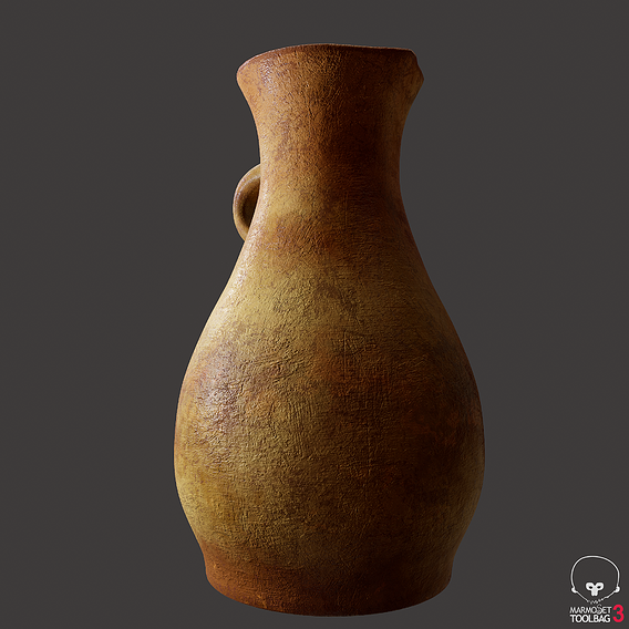 Terracotta Spouted Vase 3D Model