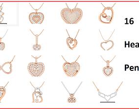16 Women heart pendant 3dm stl render detail bulk