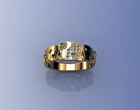 Ring Elephants 3D printable model silver