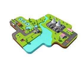 Power plant low poly 3D asset